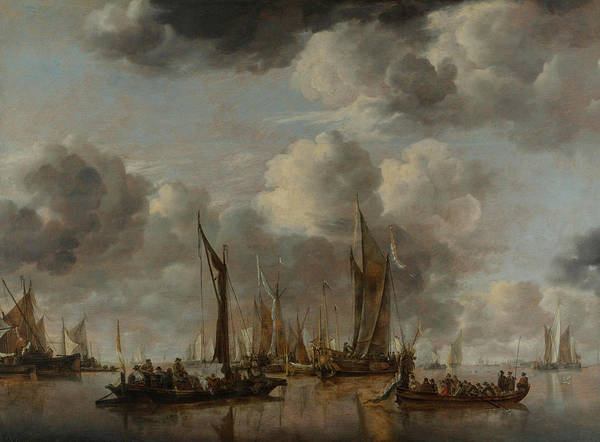 Ocean Scape Painting - A Shipping Scene With A Dutch Yacht Firing A Salute by Jan van de Cappelle