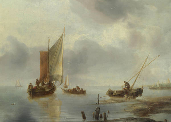 Ocean Scape Painting - A Small Vessel In Light Airs, And Another Ashore by Jan van de Cappelle