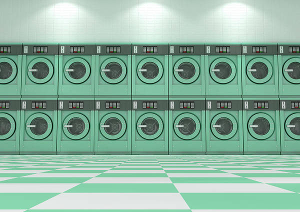 Wall Art - Digital Art - A Wall Of A Well Lit Clean Stack Of Turquoise Industrial Washing Machines In A Laundromat - 3d Rende by Allan Swart