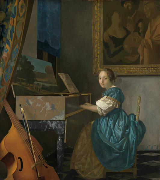 Violas Painting - A Young Woman Seated At A Virginal by Johannes Vermeer