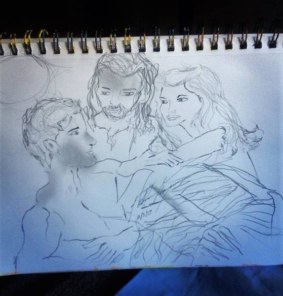 Eden Drawing - Adam Andeve The Creation Story by Love Art Wonders By God