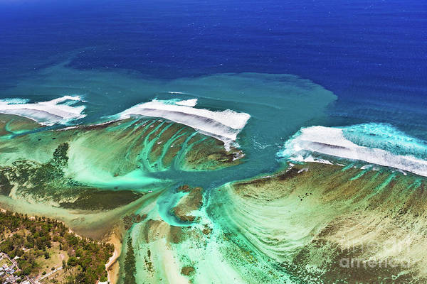 Wall Art - Photograph - Aerial View Of The Underwater Channel. Mauritius by MotHaiBaPhoto Prints