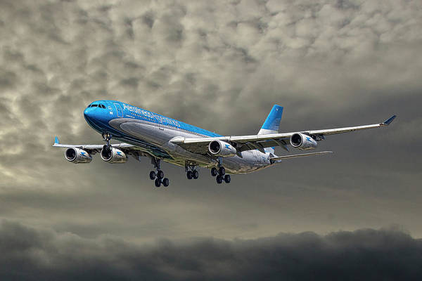 Wall Art - Mixed Media - Aerolineas Argentinas Airbus A340-313 by Smart Aviation