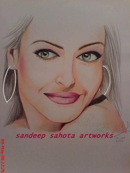 Orlando Bloom Painting - Aishwariya Rai Bachchan by San Art Studio