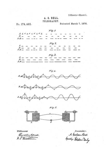 Artful Drawing - Alexander Graham Bell Telegraphy Patent Drawing 1876 by Patently Artful