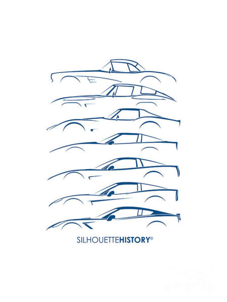 Wall Art - Digital Art - American Sports Car Silhouettehistory by Gabor Vida