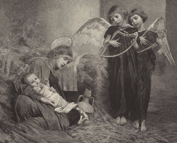 Madonna Drawing - Angels Entertaining The Holy Child by Marianne Stokes