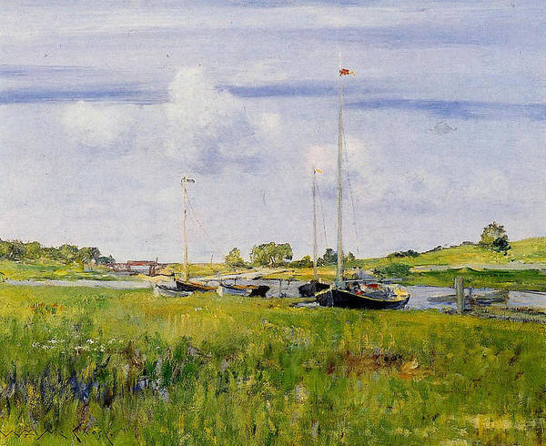 Wall Art - Painting - At The Boat Landing by William Merritt Chase