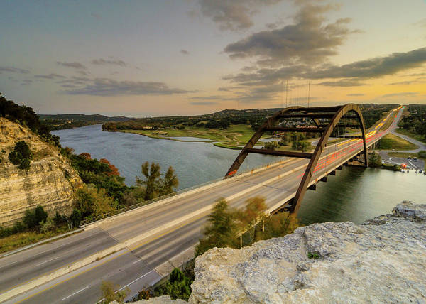 Austin Pennybacker 360 Bridge Sunset Art Print by Preston Broadfoot