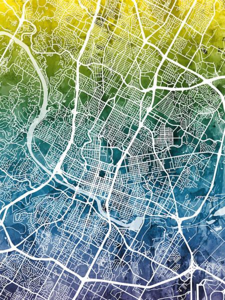 Wall Art - Digital Art - Austin Texas City Map by Michael Tompsett