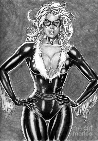 Drawing - Black Cat by Bill Richards