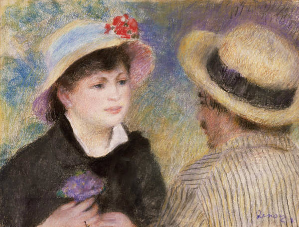 Pastel - Boating Couple by Auguste Renoir