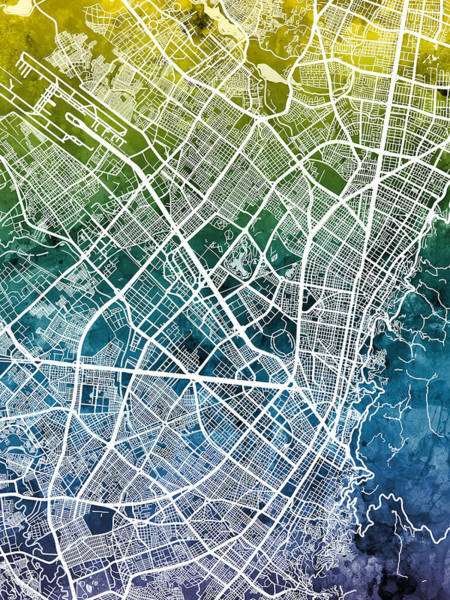 Colombian Wall Art - Digital Art - Bogota Colombia City Map by Michael Tompsett