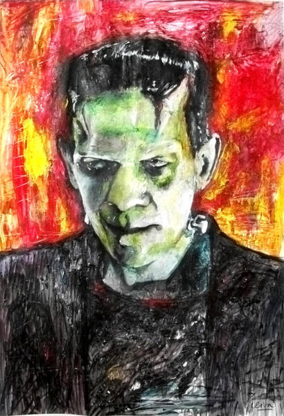 Experiment Painting - Boris Karloff - Frankenstein by Marcelo Neira