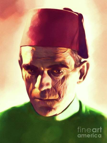 Horror Film Painting - Boris Karloff, Vintage Horror Legend by John Springfield