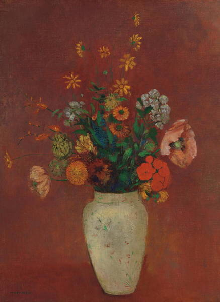 Painting - Bouquet In A Chinese Vase by Odilon Redon