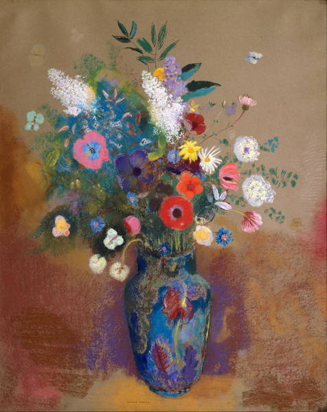 Pastel - Bouquet Of Flowers by Odilon Redon
