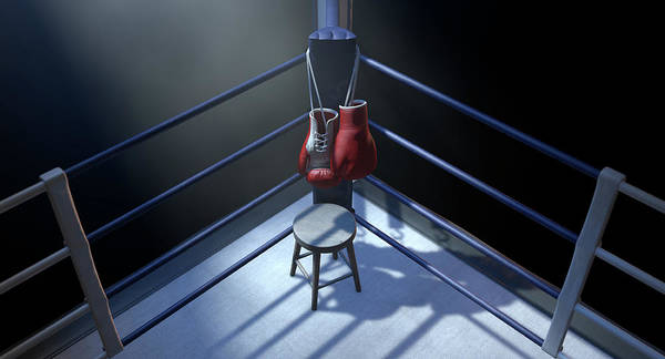 Wall Art - Digital Art - Boxing Corner And Boxing Gloves by Allan Swart