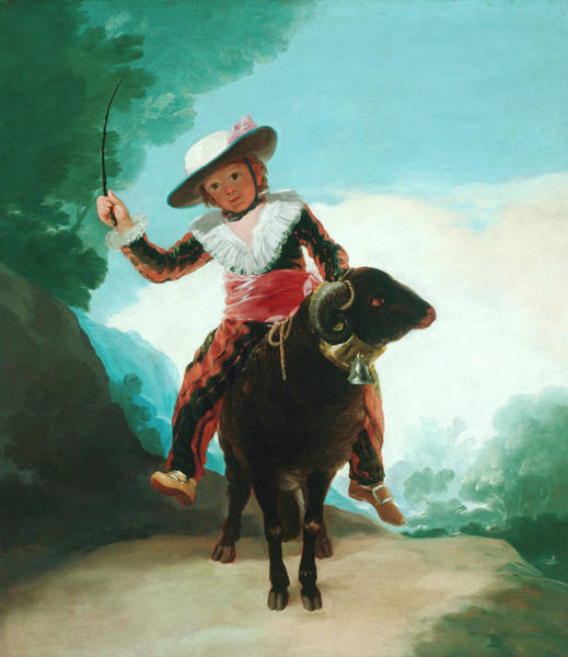 Ram Painting - Boy On A Ram by Francisco Goya