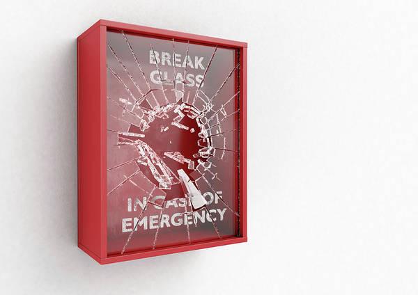 Wall Art - Digital Art - Break In Case Of Emergency Red Box by Allan Swart