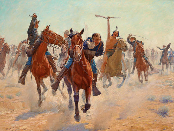 Artifact Painting - Breaking Through The Line by Charles Schreyvogel