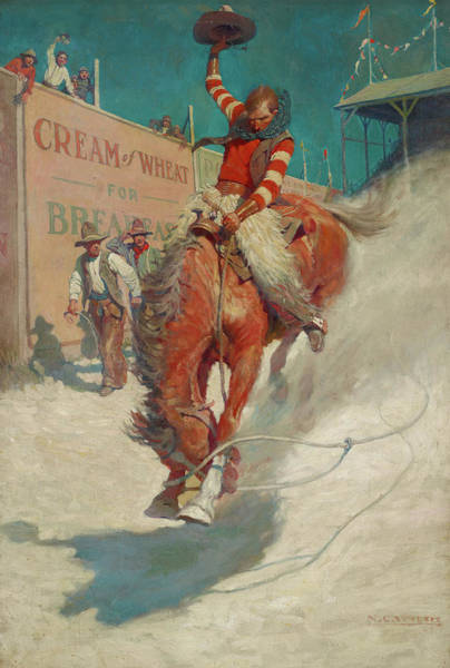 Wall Art - Painting - Bronco Buster by Newell Convers Wyeth