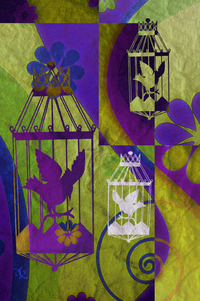 Mixed Media - 3 Caged Birds by Angelina Tamez