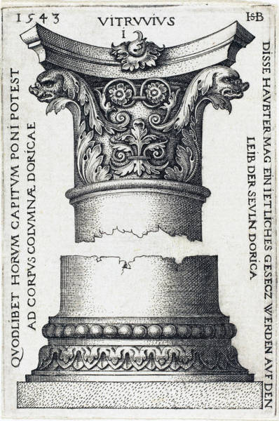 Drawing - Capital And Base Of A Column by Sebald Beham