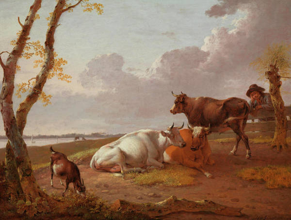 Waterway Painting - Cattle by Heinrich Wilhelm Schweickhardt