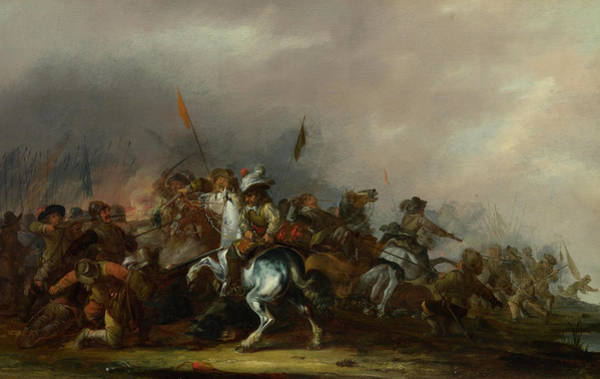 Sword Painting - Cavalry Attacked By Infantry by Jacob Weier