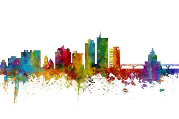 Wall Art - Digital Art - Cedar Rapids Iowa Skyline by Michael Tompsett