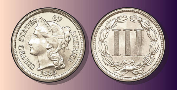 United States Drawing - 3 Cent Nickel by Greg Joens