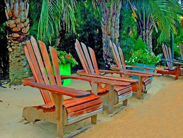 Gulf Shores Alabama Painting - 3 Chairs  by Michael Thomas