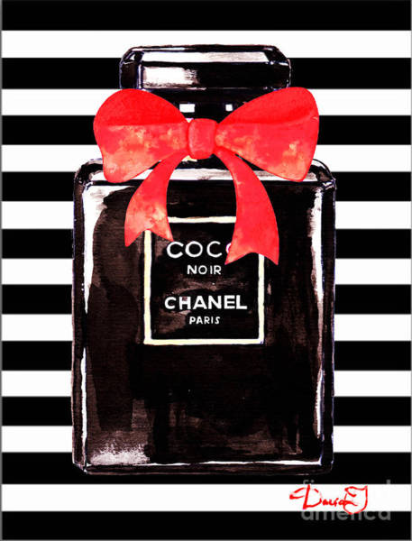 Watercolor Painting - Chanel Noir Perfume by Del Art