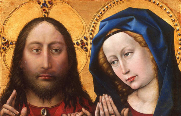 Redeemer Wall Art - Painting - Christ And The Virgin by Robert Campin