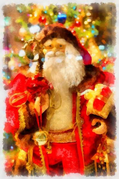 Wall Art - Painting - Christmas Santa Claus by Esoterica Art Agency