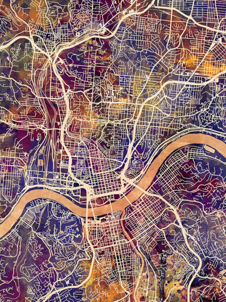 Cincinnati Wall Art - Digital Art - Cincinnati Ohio City Map by Michael Tompsett