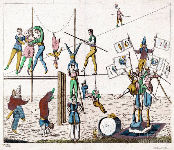 Drawing - Circus, Acrobats.  by Granger