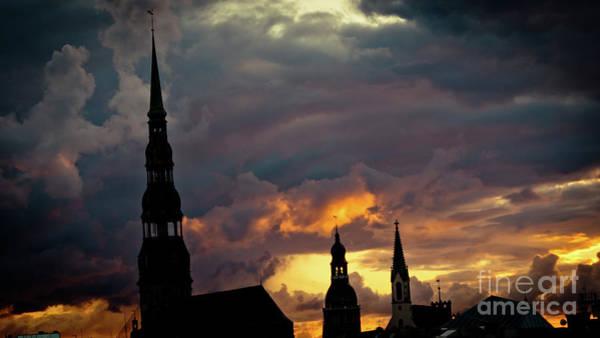 Photograph - Cloudscape Of Orange Sunset Riga Latvia Artmif by Raimond Klavins