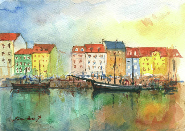Wall Art - Painting - Copenhagen  by Juan Bosco