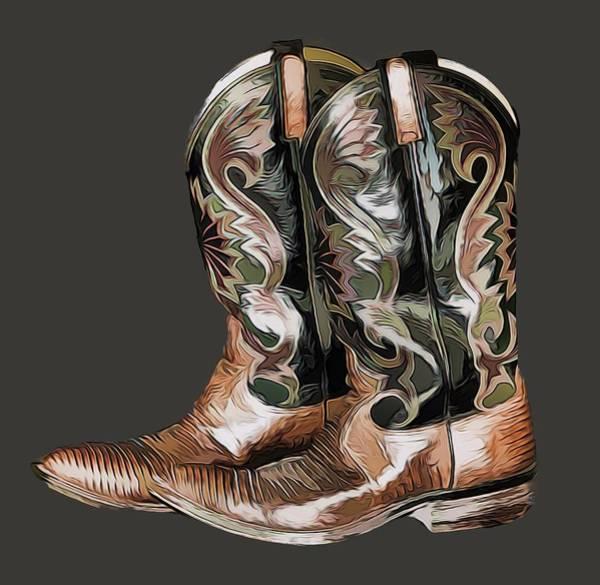 Mixed Media - Cowboy Boots by Pamela Walton