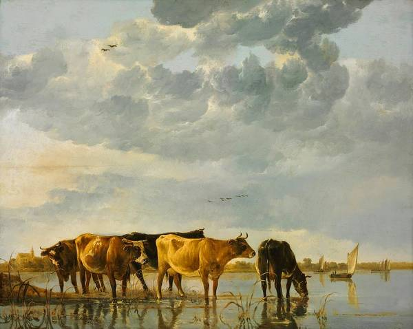 Cuyp Wall Art - Painting - Cows In A River by Aelbert Cuyp