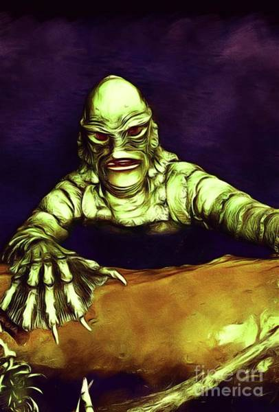 Horror Film Painting - Creature From The Black Lagoon by John Springfield
