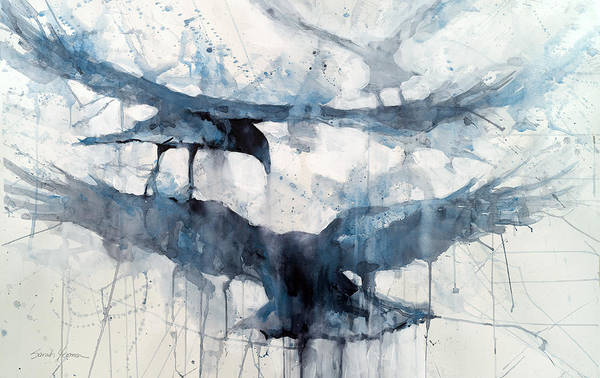 Raven Painting - 3 Crows by Sarah Yeoman