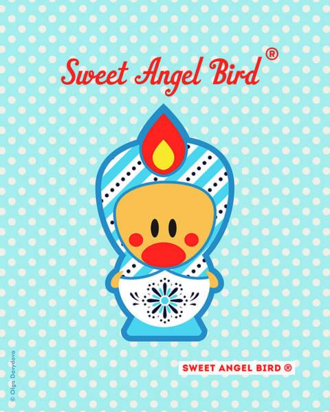 Digital Art - Cute Art - Blue Polka Dot Snowflake Folk Art Sweet Angel Bird In A Nesting Doll Costume Wall Art Print by Olga Davydova