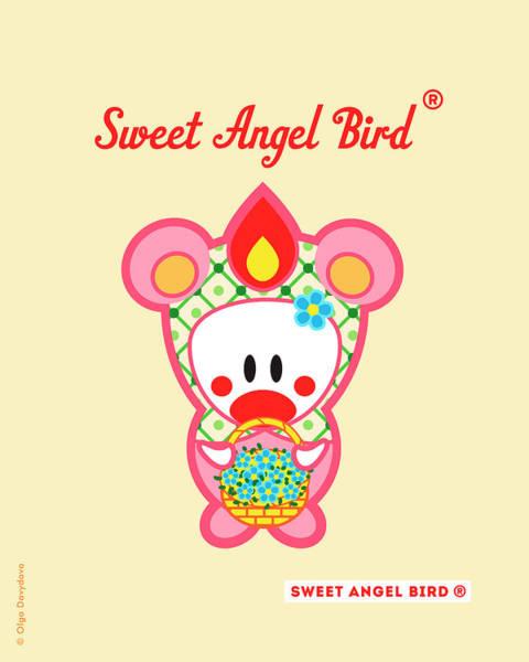 Cute Art - Sweet Angel Bird In A Bear Costume Holding A Basket Of Forget-me-nots Wall Art Print Art Print
