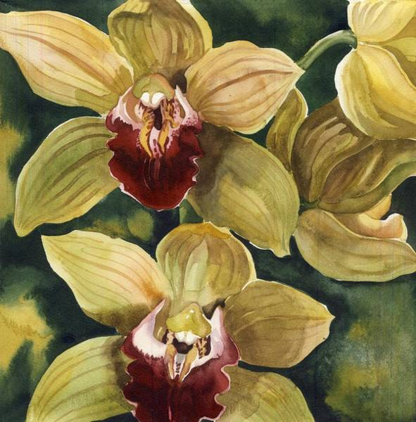 Painting - Cymbidium  Orchids by Alfred Ng