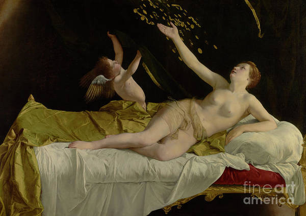 Wall Art - Painting - Danae And The Shower Of Gold by Orazio Gentileschi