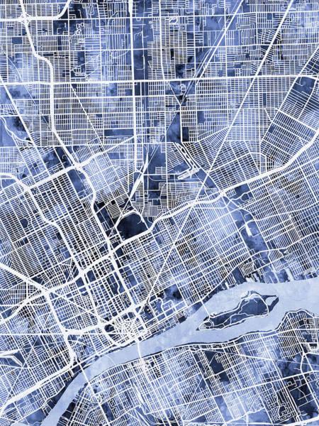 Detroit Wall Art - Digital Art - Detroit Michigan City Map by Michael Tompsett