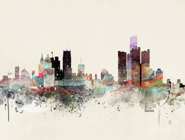 Watercolour Landscape Painting - Detroit Michigan Skyline by Bri Buckley